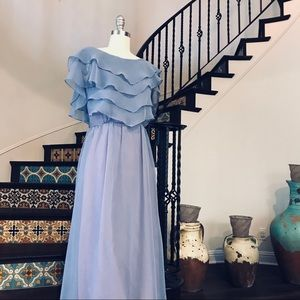 Vintage blue ruffle evening gown